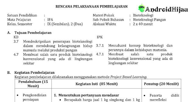 RPP Daring kelas 9 smp IPA, RPP 1 halaman IPAkelas 9 smp/mts, RPP 1 lembar revisi 2020 kelas 9 smp IPA