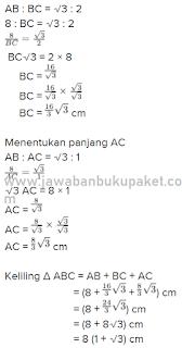 Jadi keliling segitiga ABC adalah 8 (1 + √3) cm