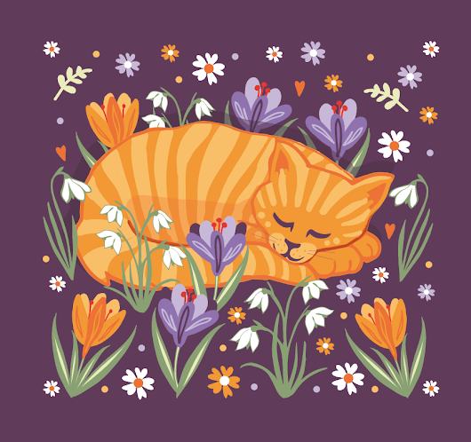 Sleepy Cat in a Spring Garden - Playing with Patterns