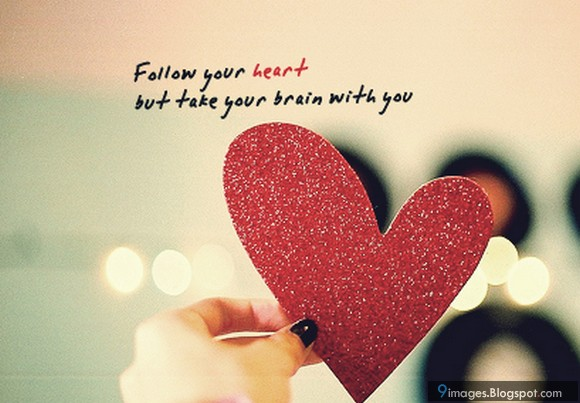 Follow Heart Or Mind Quotes: Quote, Heart, Girly, Cute, Red Art