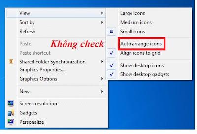 Màn hình desktop chế độ hiển thị icon