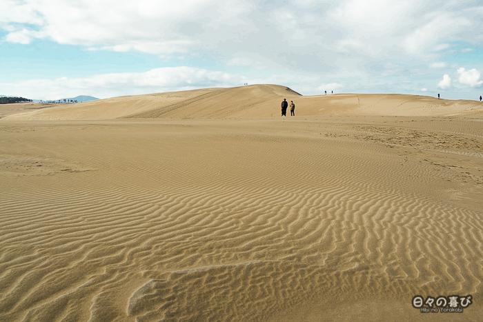 dunes de tottori avec silhouettes au loin