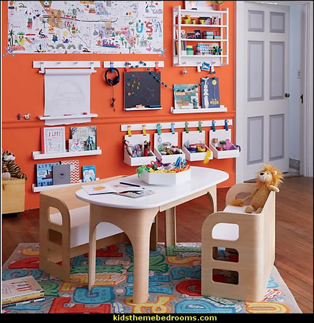 home school furniture  playrooms alphabet numbers decorating ideas - educational fun learning letters & numbers decor - abc 123 theme bedroom ideas - Alphabet room decor - Numbers room decor - Creative playrooms educational children bedrooms - Alphabet Nursery - Alphabet Wall Letters - primary color bedroom ideas - boys costumes - girls costumes pretend play - fun playroom furniture