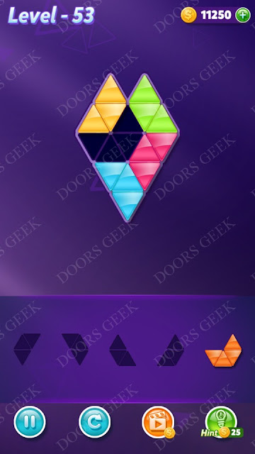 Block! Triangle Puzzle 5 Mania Level 53 Solution, Cheats, Walkthrough for Android, iPhone, iPad and iPod