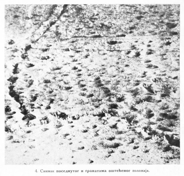 Photographs of occupied trenches greatly damaged by bombs