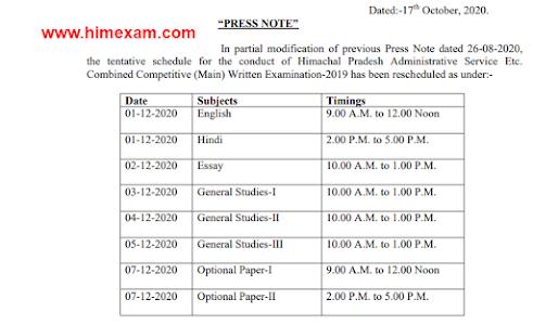 HAS Main Exam Date 2020