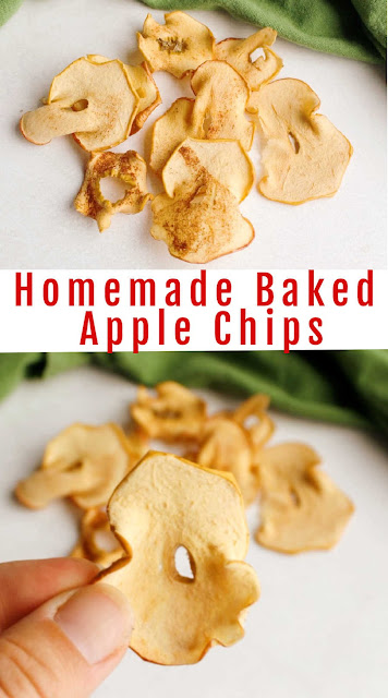 Apple chips are such a versatile fall treat.  You can use them to top cakes, toss them in salads or eat them as is.  Instead of buying them from the store, make them at home.  They are super easy and delicious.