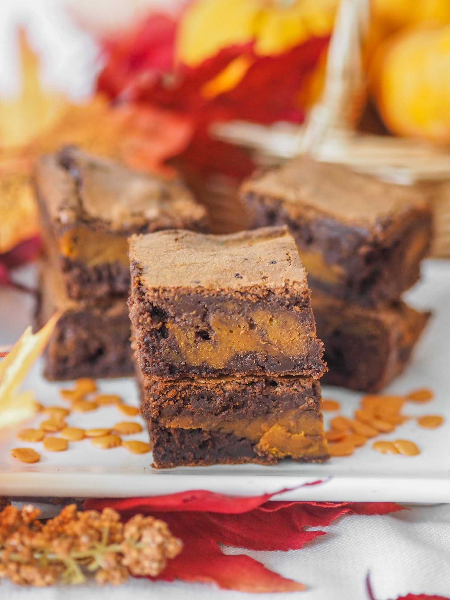 Pumpkin Swirl Chocolate Brownies, Food Blogger, Katie Kirk Loves, Autumn Recipe, Fall Recipe, Autumn Baking, Pumpkin Spice Recipe, Chocolate Brownie Recipe, UK Baking Blog, Pumpkin Spice Brownies, Pumpkin Spice Baking