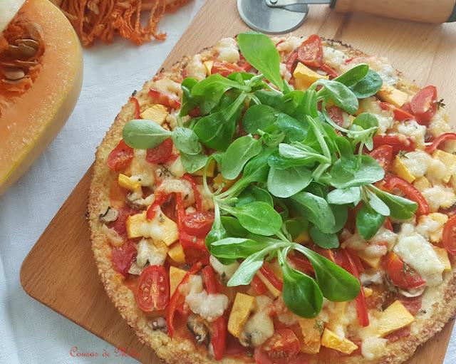 Pizza de calabaza con base de coliflor #lunessincarne