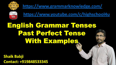 English Grammar Tenses Past Perfect Tense With Examples