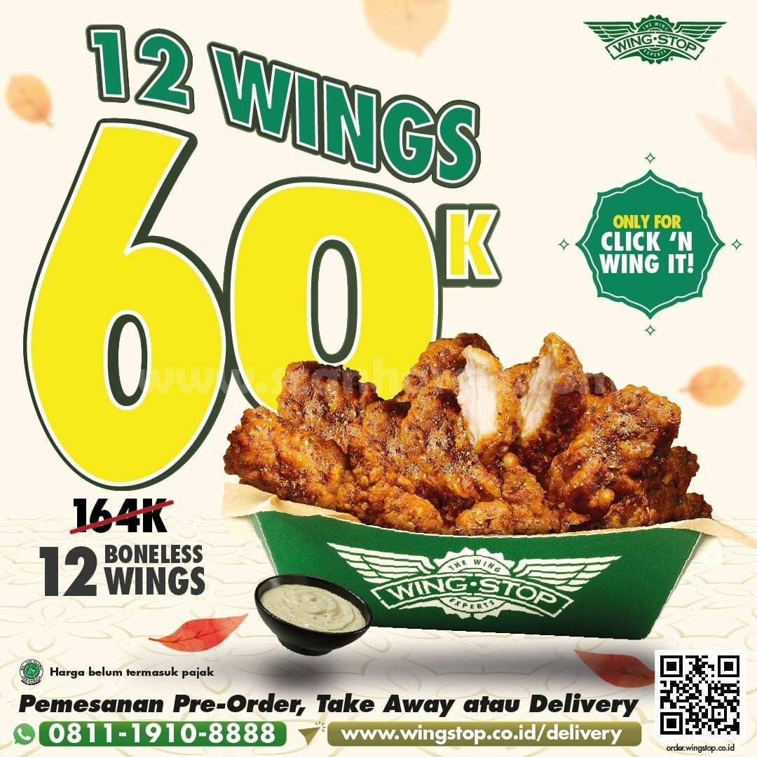 Promo WINGSTOP Beli 12 Boneless Wings hanya Rp 60.000