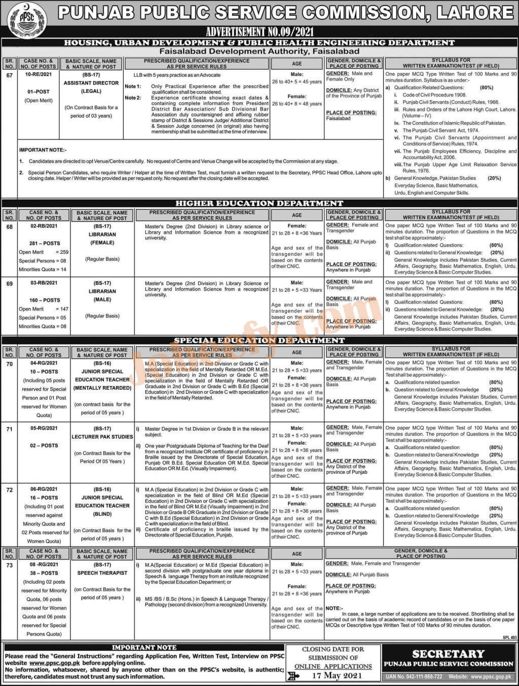 PPSC Latest Jobs May 2021 Apply Online