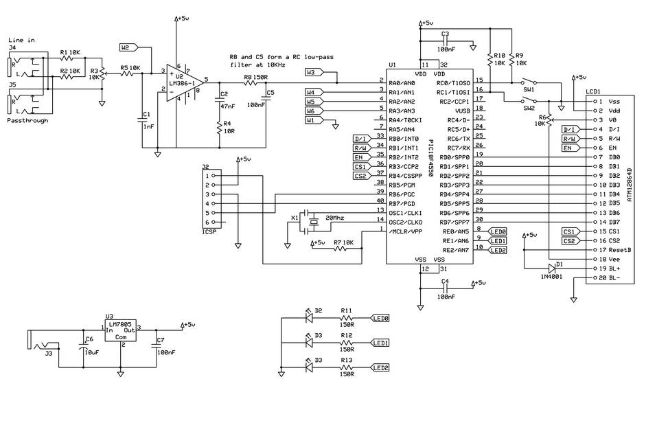 Audio Schematics: Spectrum analyzer based PIC18F4550. Part 1