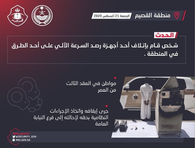Qassim police arrested a person for damaging speed detection camera on road - Saudi-Expatriates.com