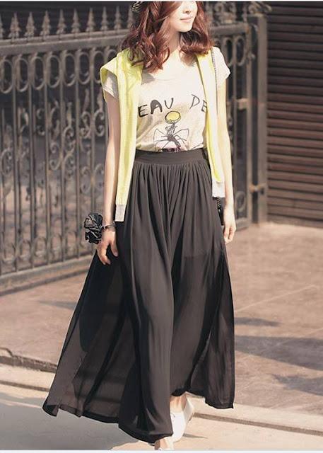 Model Rok Sifon Panjang Warna Hitam Polos Terbaru 2016