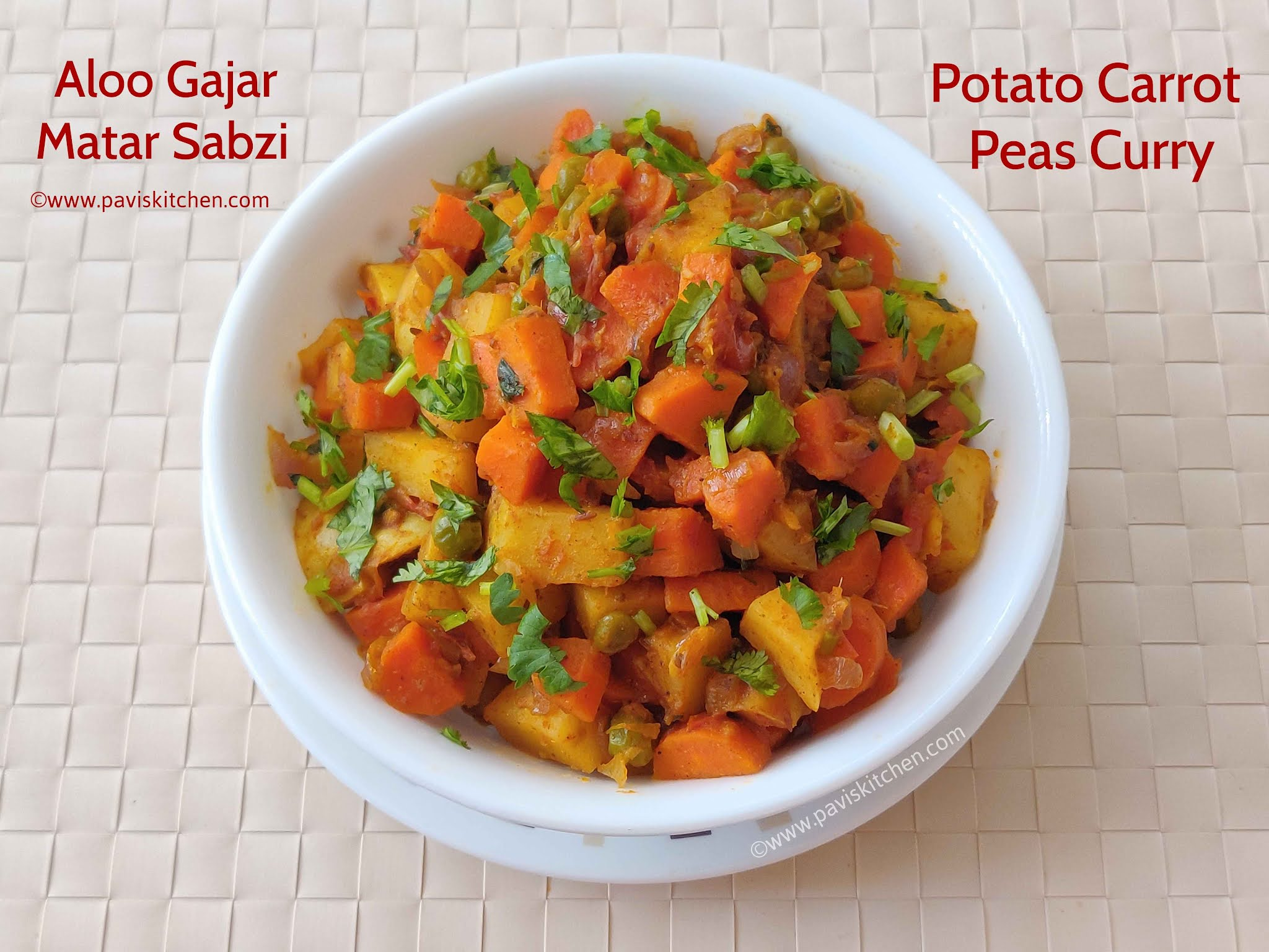 Aloo gajar matar recipe | Indian potato carrot peas sabzi - Punjabi style