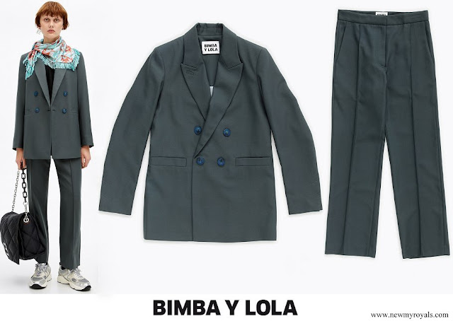 Queen Letizia wore BIMBA Y LOLA Talla blazer and trousers in olive