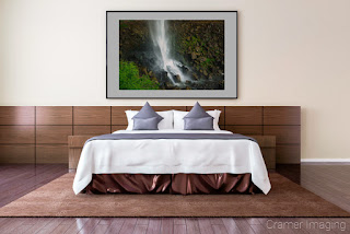 Photograph of Cramer Imaging's fine art photograph 'Moss on the Rocks' on the wall of a master bedroom room