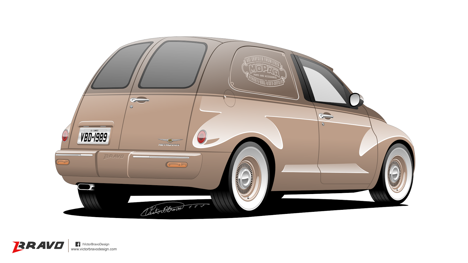 Imagem mostrando a traseira do Chrysler PT Cruiser ''Retrovan''