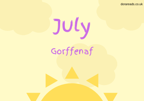 July - Gorffenaf title graphic with really big sun at the bottom and puffy clouds and stuff