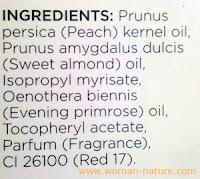 Ingredientes aceite hidratante Primark