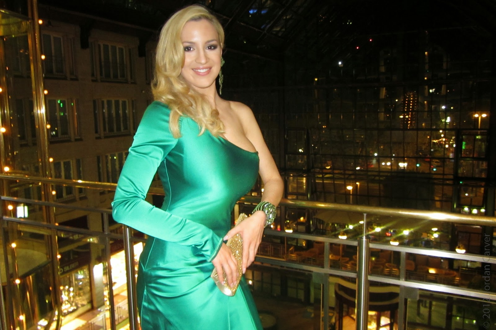 Jordan Carver Blue Gown Big Boobs Cleavage show in Shiny