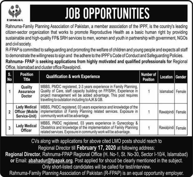 Rahnuma Family Planning Association Of Pakistan Jobs