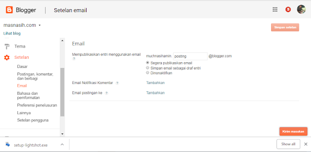 gambar laman untuk mengatur email postingan