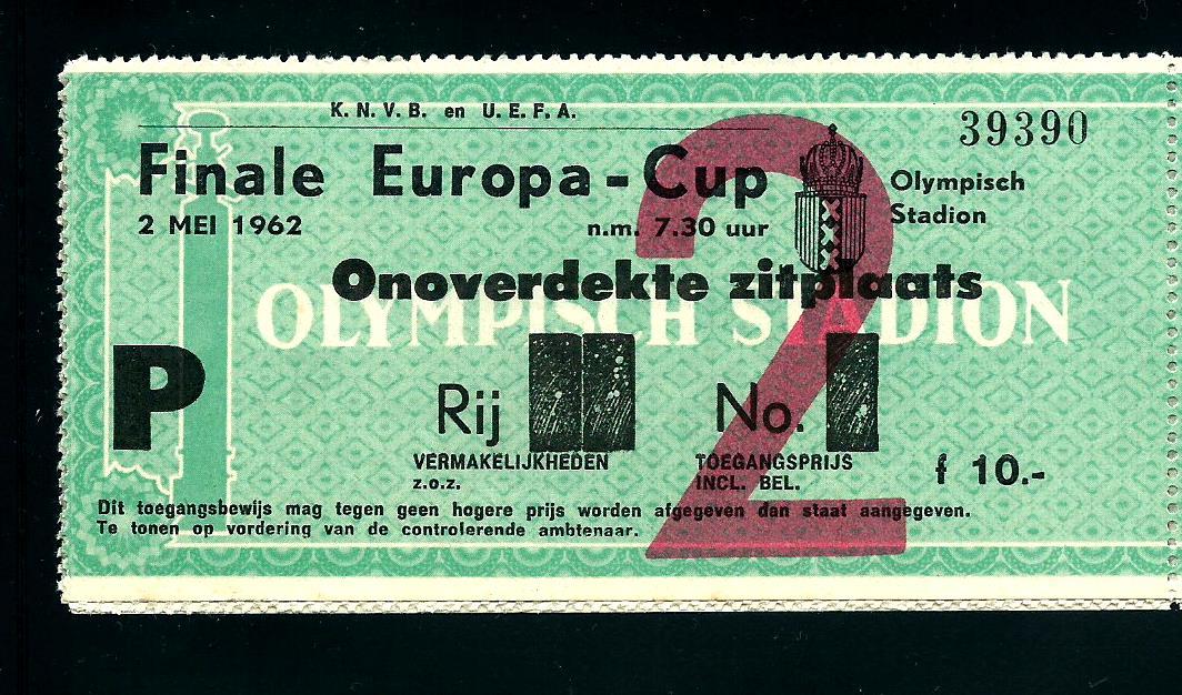 Bilhetes | Final Taça Campeões Europeus 1962