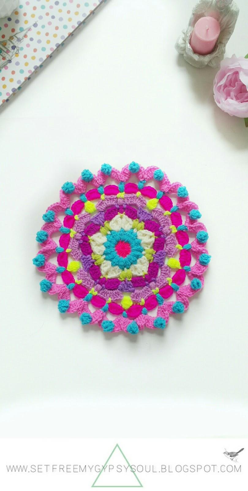 free mandala crochet doily doilies hippie boho home decor peggy pink