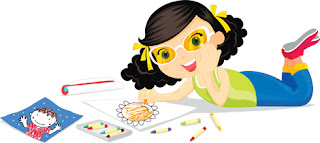 Clipart Image of a Little Girl Lying on the Floor Colouring