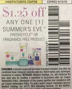 """$1.25/1 Summers Eve Freshcycle or Fragrance Free Products Coupon from """"SMARTSOURCE"""" insert week of 7/28 (EXP:9/15)."""