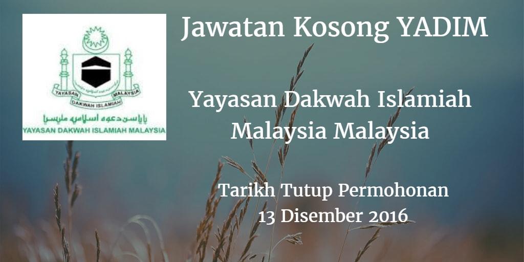 Jawatan Kosong YADIM 13 Disember 2016
