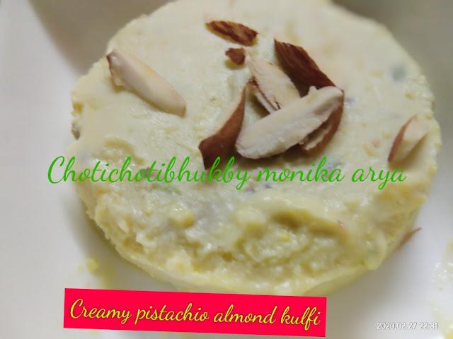 Creamy pistachio almond kulfi