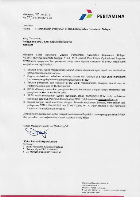 SPBU di Selayar, Wajib Buka 07 sd 22.00, Ini Surat Pertamina