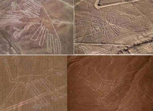 Algunos de los más famosos geoglifos de Nazca: Arriba a la izquierda, el cóndor. Arriba a la derecha, la araña. Abajo a la izquierda, el perro. Abajo a la derecha, las manos.
