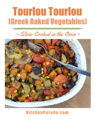 Tourlou Tourlou (Greek Baked Vegetables) ♥ KitchenParade.com, a vegan rainbow of vegetables slow-cooked in the oven. Great for parties, serve hot or at room temperature.