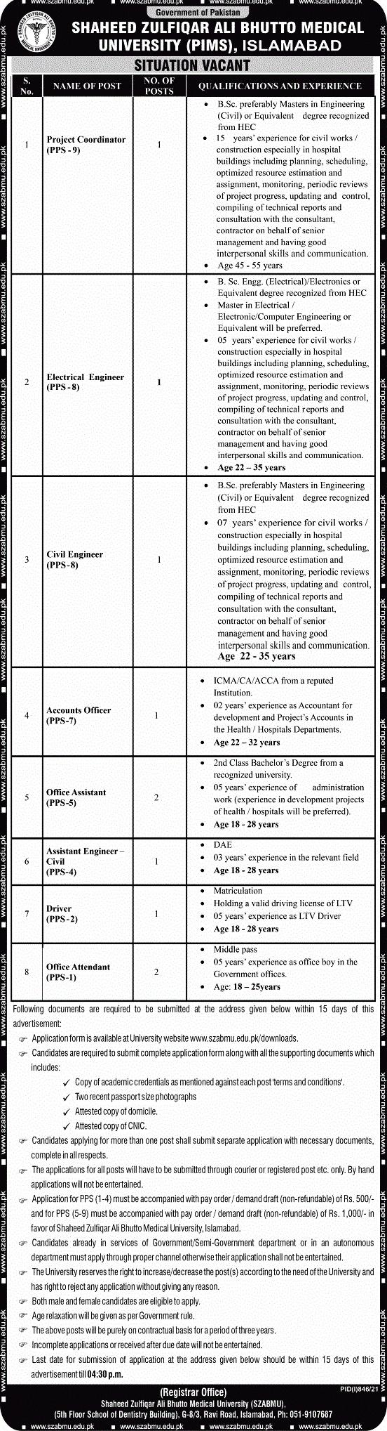 Latest Jobs in Shaheed Zulfiqar Ali Bhutto Medical University SZABMU 2021
