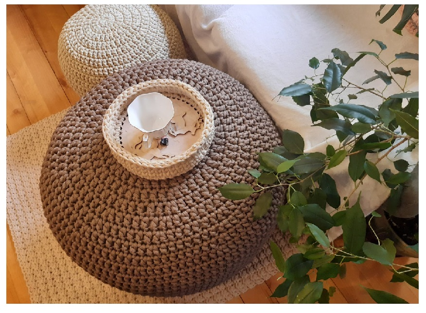 buy best cute round table with  cream and bown linen crochet pouf for ottoman sofa corner