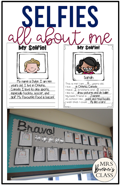 Selfies an All About Me craftivity activity project perfect for back to school diferentiated for various ability levels and grades