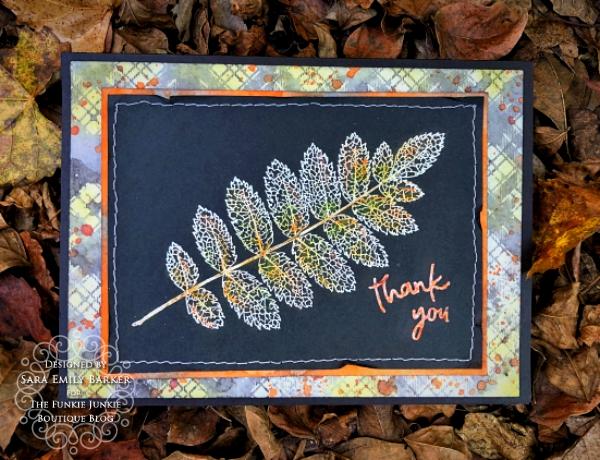 Sara Emilyl Barker https://sarascloset1.blogspot.com/2019/11/fabulous-fall-thank-you-card-for-funkie.html Tim Holtz Pressed Foliage Perfect Plaids Card 3