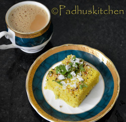 Instant dhokla with tea-tea time snack