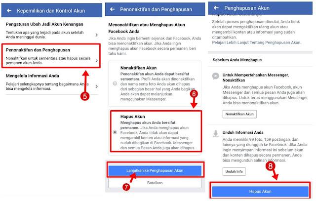 hapus akun facebook permanen lewat hp