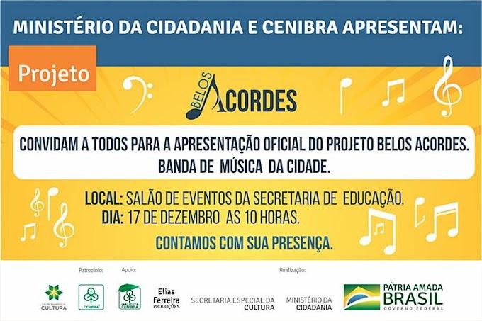 Terça-feira (17) acontece em Belo Oriente a apresentação oficial do Projeto Belos Acordes