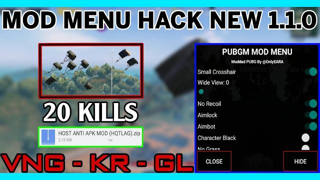 APK MOD MENU HACK PUBG 1.1.0 VNG + KR + GL V8 BY EARA | AIMBOT + AIMLOCK + NO RECOIL + WIDE VIEW + NO GRASS + NO FOG + BLACK SKY | NO ROOT HQT LAG