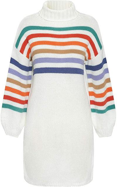 Miessial Women's Cute Striped Knitted Sweater Dress Fall Turtleneck Long Sweater Dress