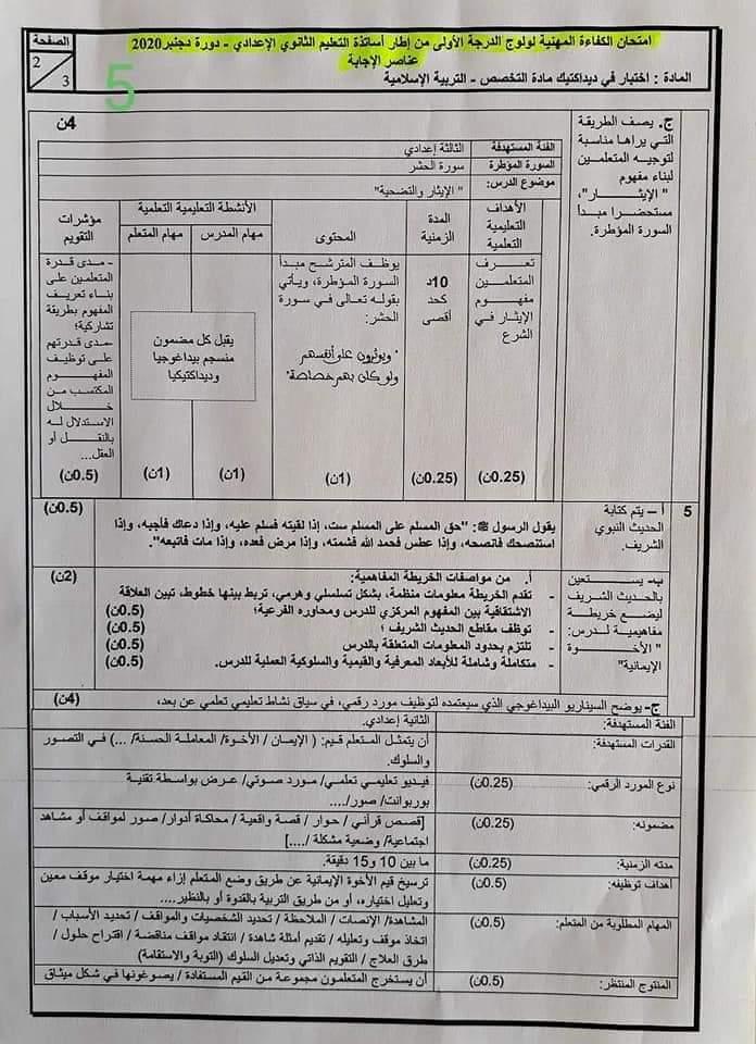 مواضيع وتصحيح الامتحان المهني مادة التربية الإسلامية إعدادي دورة 2020