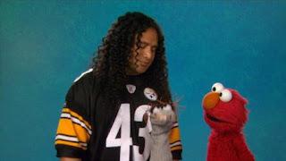 Elmo and Troy Polamalu, celebrity, the Word on the Street Fragrance, Sesame Street Episode 4403 The Flower Show season 44
