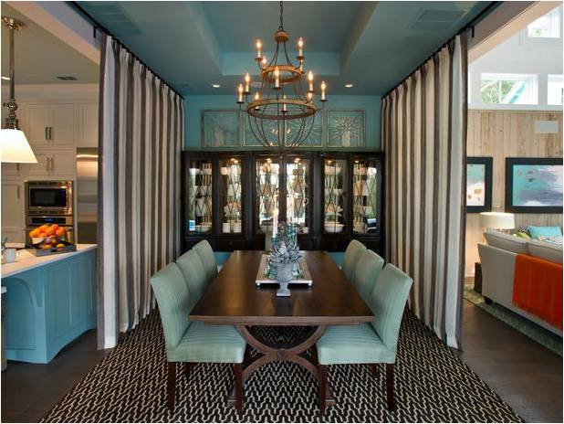 What A Beautiful Dining Room Styled In The Lovely Turquoise And Lined With An Amazing China Cabinet That Intact Whole Wall We