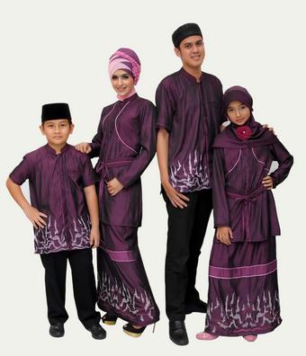 Model Busana Muslim Sekeluarga Warn Ungu Tua